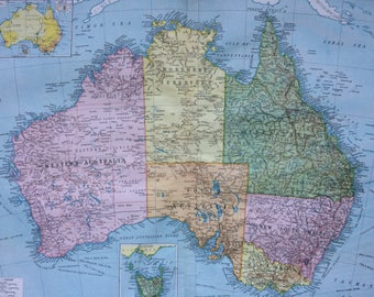 1920 Australia (Political) Extra Large Original Antique Map with inset maps of Tasmania and Population of Australia - Cartography