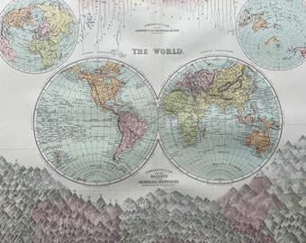 1876 Extra Large Original Antique World A & C Black Map with comparative views of worlds mountains and rivers and Water and Land Hemispheres