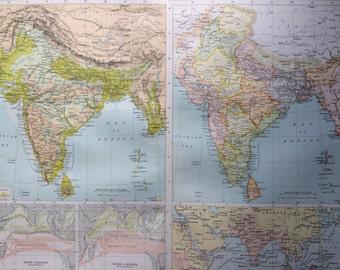 1898 INDIA (Physical & Political) Large Original Antique Map, 14 x 18.5 inches, historical wall decor, Bartholomew map, Home Decor