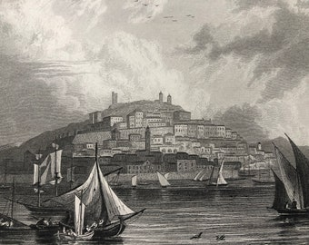 1871 Cagliari, Sardinia Original Antique Steel Engraving - Italy - Fine Art - Mounted and Matted - Available Framed