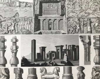 1849 Ancient Civilisations Large Original Antique Engraving - Mounted and Matted - Available Framed - Mesopotamia - Victorian Decor