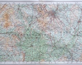 1922 original antique ordnance survey map of England, Worcestershire, Herefordshire, Warwickshire, wall decor, home decor