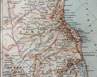 1895 Southern Brazil Small Original Antique Map - South America - Sao Paulo - Parana - Cartography - Vintage Map - Wall Decor