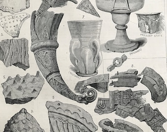 1883 Relics found in the Viking's Tomb at Taplow Original Antique Engraving by Louis Wain - Mounted and Matted - Kent - Maidenhead