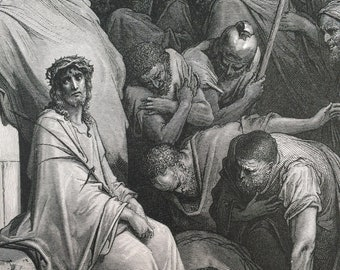 1870 Christ Mocked Original Antique Gustave Dore Engraving - Mounted and Matted - Dore Bible - Biblical Art - Religious Decor - Jesus Christ