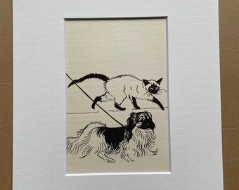 1957 Original Vintage Maurice Wilson Illustration - Cat and Dog - Mounted and Matted - Available Framed