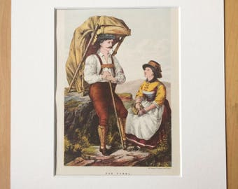 1872 Tyrol Traditional Dress Original Antique Matted Lithograph -  Fashion - Austria - Decorative Wall Art - Available Framed