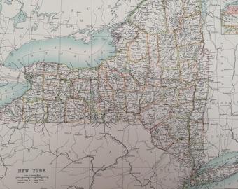 1898 New York Large Original Antique A & C Black Map - United States - Victorian Wall Decor - Wedding Gift Idea