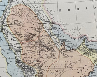 1875 Arabia Original Antique Map - Middle East - Saudi Arabia - Available Matted and Framed