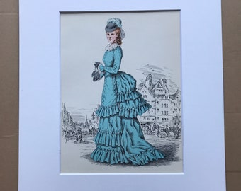 1949 Original Vintage Fashion Illustration - 1872 - The Pursuit of Fashion - Mounted and Matted - Available Framed