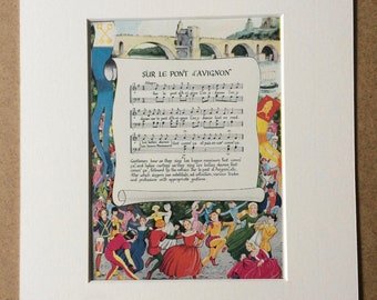 1940s Sur le pont d'Avignon - Illustrated Song Lyrics Original Vintage Print - Mounted and Matted - French Folk Song - Available Framed
