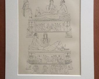1875 Etruscan Art and Sculpture Original Antique Matted Engraving - Etruria Italy Terracotta Sarcophagus - Matted & Available Framed