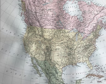 1876 North America Extra Large Original Antique A & C Black Map - United States, Canada, Mexico, West Indies, USA - Wall Decor