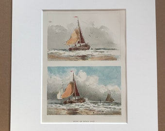 1880 Study of a Dutch Boat Original Antique Lithograph - Sailing Boat Illustration - matted and available framed - Vintage Wall Decor