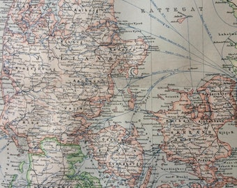 1894 Denmark Original Antique Map - Available Mounted and Matted - Vintage Map