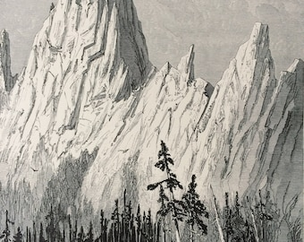 1895 Castellated Rock, Sierra Nevada Mountains Original Antique Wood Engraving - Mounted and Matted - Decorative Art - Available Framed