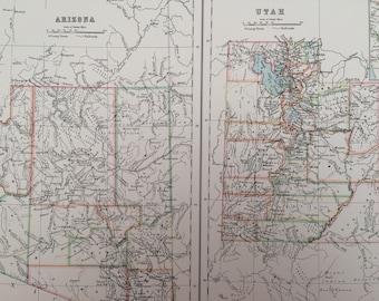 1898 Arizona and Utah Large Original Antique A & C Black Map - United States - Victorian Wall Decor - Wedding Gift Idea