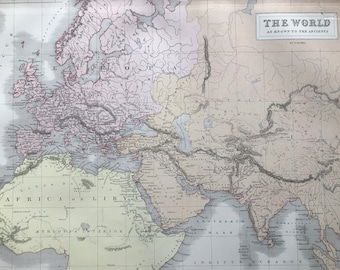 1876 The World as known to the Ancients Large Original Antique A & C Black Map - Classics - Ancient History