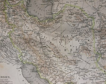 1877 Persia Large Original Antique Map - Available Mounted and Matted - Iran - Vintage Wall Decor