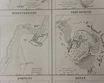 1871 Ports and Harbours on the West Coast of Scotland Original Antique Map - Loch Ryan - Ayr - Kirkcudbright - Port Patrick - Dumfries