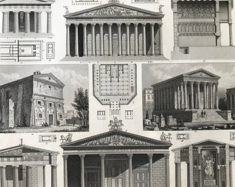1849 Greco-Roman Architecture Large Original Antique Engraving - Mounted and Matted - Available Framed - Roman Temple - Victorian Decor