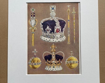 1940s Crown Jewels of the British Royal Family Original Vintage Print - Mounted and Matted - Royalty - Crown - Sceptre - Available Framed