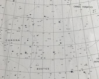 1923 Bootes & Corona Borealis Original Antique Print - Constellation - Celestial Art - Astronomy - Mounted and Matted - Available Framed