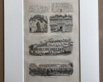 1858 Mexican Antiquities - Native Architectural Remains in Yucatan Original Antique Engraving - Victorian Decor - Available Framed