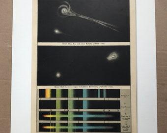 1882 Original Antique Lithograph - Comet Spectra Comparison - Zodiac - Celestial Art - Spectrum - Astronomy - Victorian Wall Decor