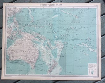 1922 PACIFIC OCEAN (South) Large Original Antique Times Atlas Map on Mercator's Projection showing ocean depth & steamer routes