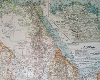 1903 Northeast Africa Original Large Antique Map with inset map of the Nile Delta and Suez Canal - Egypt - Sudan - Libya - Ethiopia