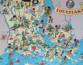1935 Louisiana Original Vintage Cartoon Map - Ruth Taylor - Mounted and Matted - Whimsical Map - United States