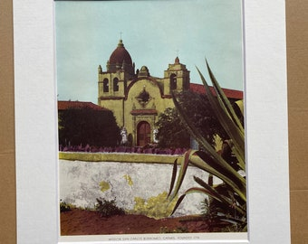 1944 Mission San Carlos Borromeo, Carmel, founded 1770 Original Vintage Photo Print - California - Mounted and Matted - Available Framed