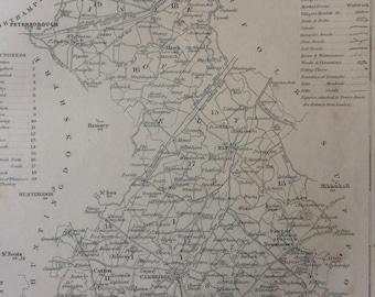 1848 Cambridgeshire Original Antique Engraved Map - UK County Map - Decorative Art - Cartography - Wall Decor - England