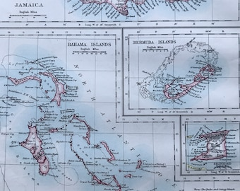 1901 Jamaica, Bahamas, Trinidad and Bermuda Original Antique Map - Mounted and Matted - Available Framed