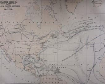 1859 Atlantic Ocean showing the Communication between Europe, North America and the Pacific large rare original antique A & C Black Map