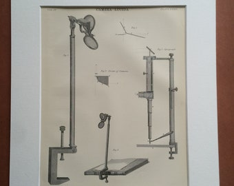 1875 Camera Lucida Original Antique Matted Engraving - Optics - Artist - Optical Tool - Matted & Available Framed