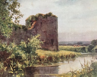 1907 Pevensey Castle Original Antique Print - Mounted and Matted - Available Framed - Sussex - England