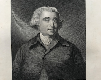 1877 Charles James Fox Original Antique Engraving - Portrait - Whig Politician - British History - Mounted and Matted - Available Framed