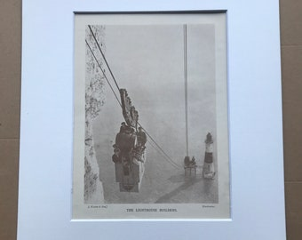 1928 The Lighthouse Builders Original Vintage Print - Engineering - Mounted and Matted - Available Framed