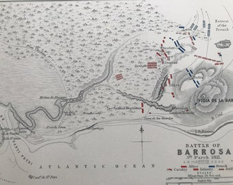 1875 Battle of Barrosa, 1811 Original Antique Map - Napoleonic Wars - Spain - Battle Map - Military History - Available Framed