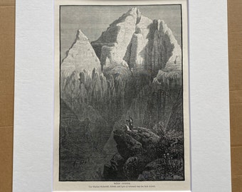 1880 Wady Sidreh Original Antique Engraving - Egypt - Mounted and Matted - Available Framed