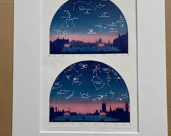 1923 July Stars over London Original Antique Print - Mounted and Matted - Available Framed - Astronomy - Star Map