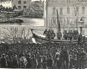 1883 A Life-Boat in Manchester Original Antique Print - Mounted and Matted - Available Framed - Local History - Victorian Decor
