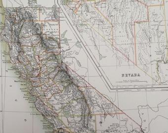 1898 California and Nevada Large Original Antique A & C Black Map - United States - Victorian Wall Decor - Wedding Gift Idea