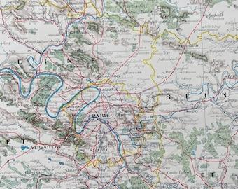 1898 Paris - Environs de Paris Original Antique Map - France - Parisian Decor - City Plan - Mounted and Matted - Available Framed