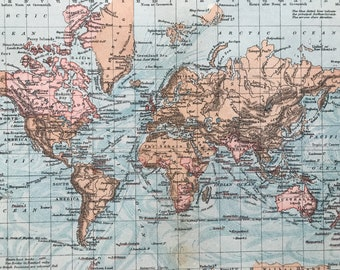 1880 The World showing British Possessions Original Antique Map - Mounted and Matted - Available Framed - Vintage Map - Wall Decor