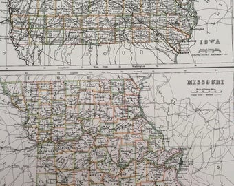 1898 Iowa and Missouri Large Original Antique A & C Black Map - United States - Victorian Wall Decor - Wedding Gift Idea