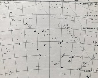 1923 Sagittarius Constellation Original Antique Print - Star Map - Astronomy - Mounted and Matted - Available Framed