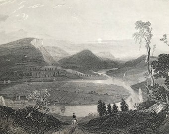 1885 River Tay & Kinnoul Hill from East of Craigie Original Antique Matted Engraving - Perth - Scotland History - Available Framed